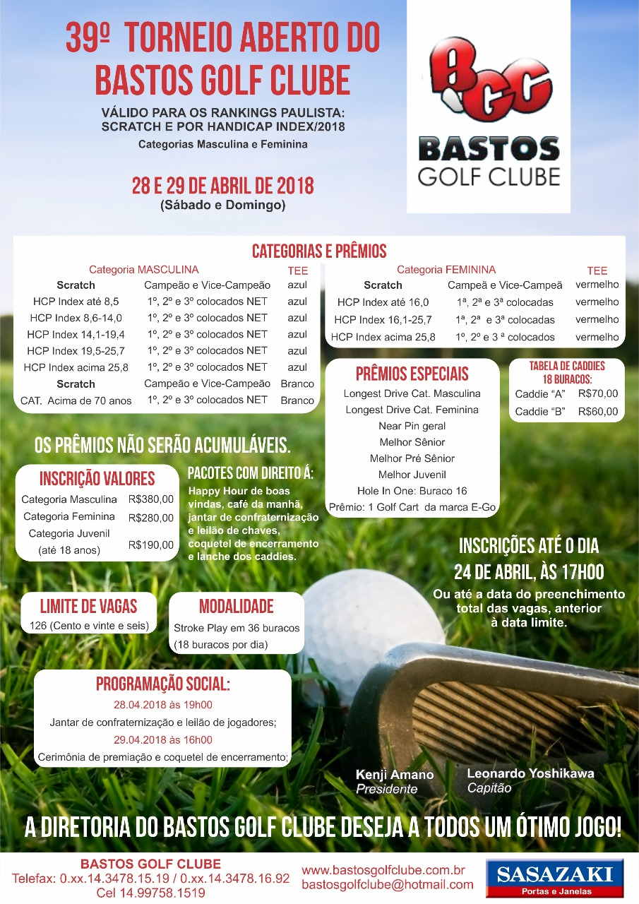 39º Torneio Aberto do Bastos Golf Clube Pop Up
