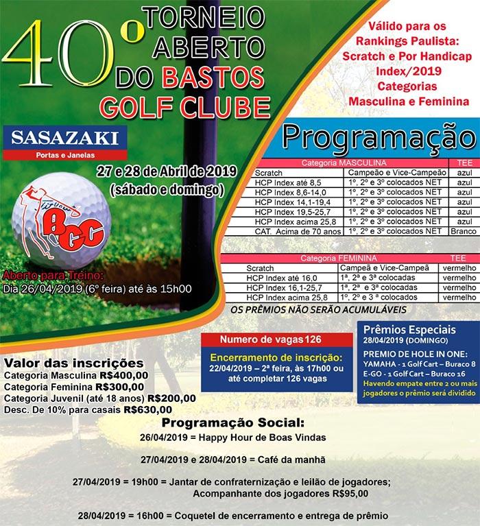 BGC Torneio Golfe Aberto 2019